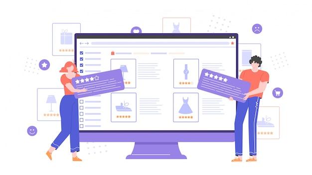 Webサイトのオンラインストアでの商品のレビューと評価。オンラインショッピングサービス。デジタル商取引。コメント付きのキャラクターがモニターの近くに立っています。