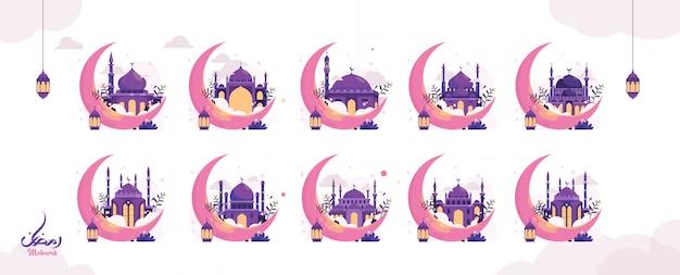 断食のイスラム教徒のお祝いのための創造的なラマダンイスラムデザインイラストアラビア書道テキスト、ランタン、三日月のセット。 webランディングページテンプレート、バナー、ソーシャルメディア。