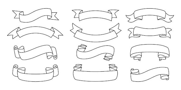 リボン概要手描きセット。テープ空白フラットコレクション、装飾的なアイコン。ビンテージラインデザイン、リボンサイン線形スタイル。テキストバナーテープのwebアイコンキット。孤立した図