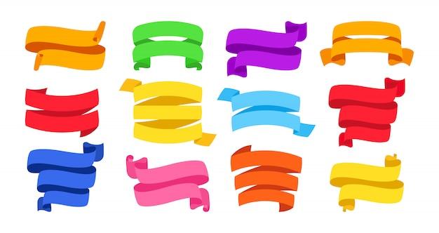 バナーリボンセット。装飾的なアイコン、テープ空白のフラットコレクション。モダンなデザイン、カラーリボンサイン漫画のスタイル。テキストバナーのwebアイコンキット。孤立した図