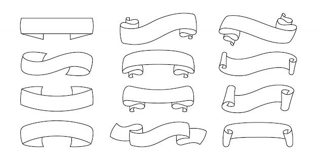 リボン黒輪郭セット。装飾的なアイコン、テープ空白のフラットコレクション。グリーティングカード、バナー招待状のデザイン。概要リボンサイン。テキストバナーのwebアイコンキット。孤立した図