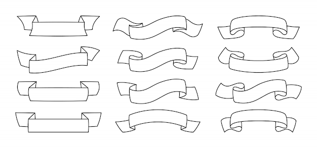 リボンブランクビンテージコレクション。輪郭テープフラットセットの装飾的なアイコン。概要デザインリボンサイン。テキストバナーテープ、グリーティングカード、招待状のwebアイコンキット。孤立した図