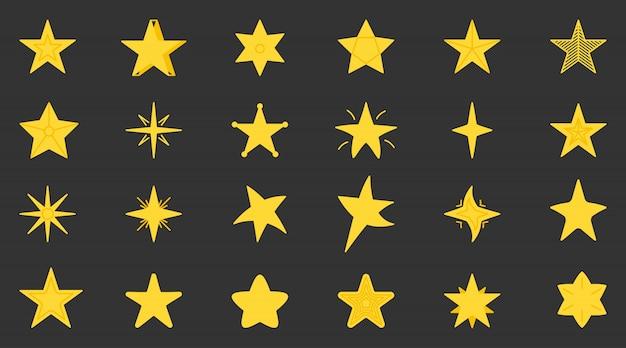 黄色の星のアイコンを設定します。 webサイト、ピクトグラム、アプリのフラットシンプルなグラフィック星空要素コレクション。ゲームでの賞として、さまざまな形の漫画の星。