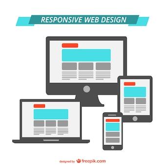 応答webデザインのフラットグラフィック