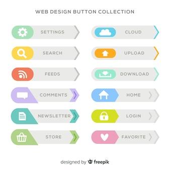 フラットデザインのカラフルなwebデザインのボタンコレクション