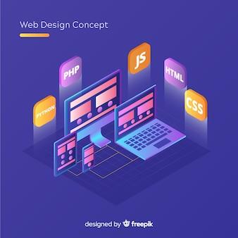 等角図での最新のwebデザインコンセプト