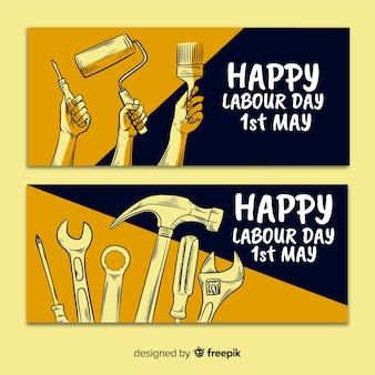 幸せな労働者の日手描きwebおよびソーシャルメディアのバナー