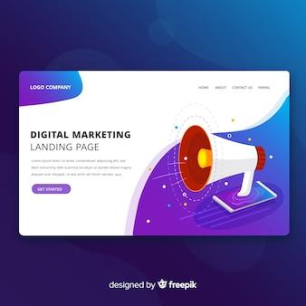 デジタルマーケティングの近代的なランディングページのwebデザイン