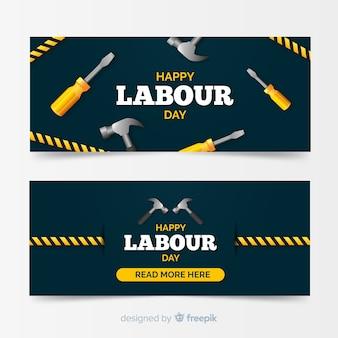 Webおよびソーシャルメディアのための幸せな労働者日バナー
