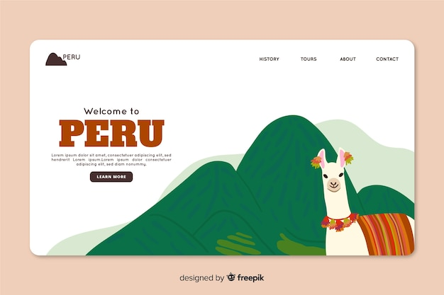 ペルー旅行代理店用のコーポレートランディングページwebテンプレート