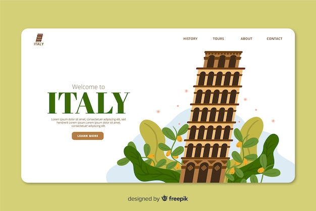 イタリアのツアーオペレーター代理店のためのコーポレートランディングページwebテンプレート