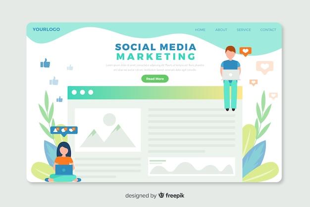 ソーシャルメディアマーケティングエージェンシーのためのコーポレートランディングページwebテンプレート