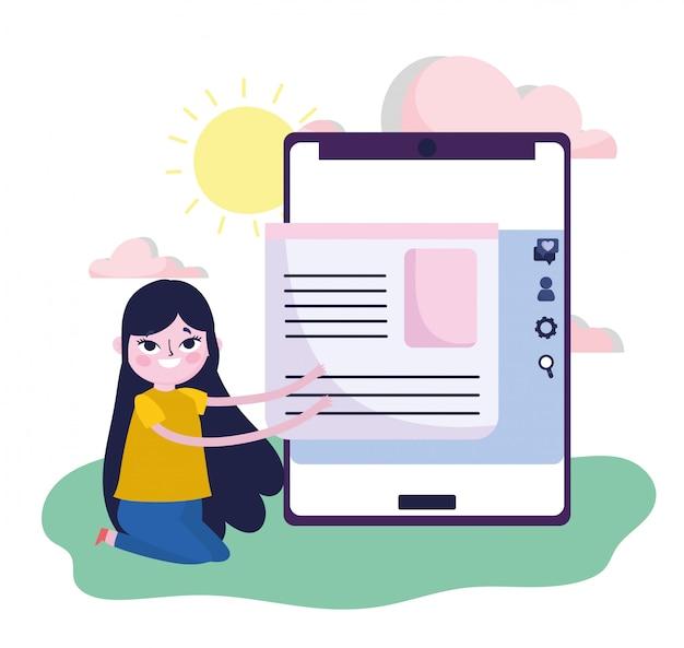若い女性のスマートフォンコンテンツ情報webソーシャルメディア