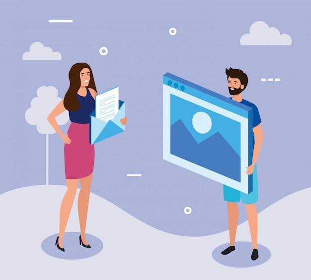 Webページと封筒のビジネスカップル