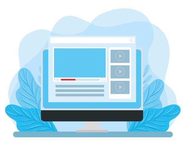 コンピューターのモニターのwebページと葉の装飾イラストデザイン