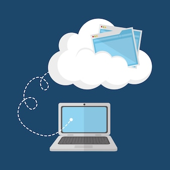 クラウドコンピューティングラップトップのwebホスティングデザイン