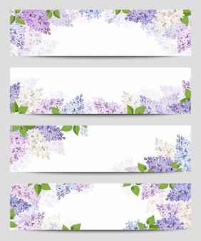 ライラック色の花のwebバナー。