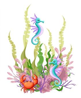 海を背景に海洋生物の風景-住民が異なる海と水中の世界。印刷用に、ビデオまたはwebグラフィックデザイン、ユーザーインターフェイス、カード、ポスターを作成します。