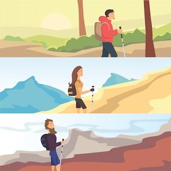 ハイキング、トレッキング、ウォーキングをテーマに平面ベクトルwebバナーのセットです。スポーツ、アウトドアレクリエーション、自然の中の冒険