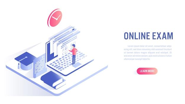 男はオンライン教育のコンセプトでオンライン試験を受けます。行動を促すフレーズまたはwebバナーテンプレート