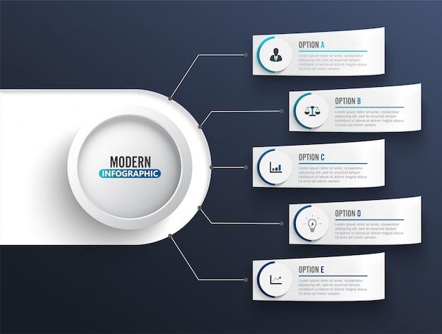 抽象的なデジタルイラストインフォグラフィックテンプレート。ベクトル図は、ワークフローのレイアウト、図、番号のオプション、webデザインに使用できます。