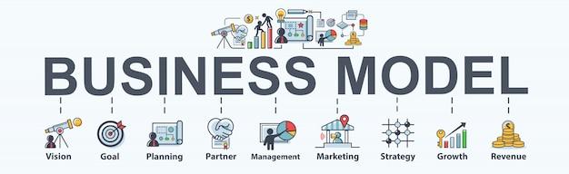 ビジネスとマーケティングのためのビジネスモデルバナーwebアイコン。