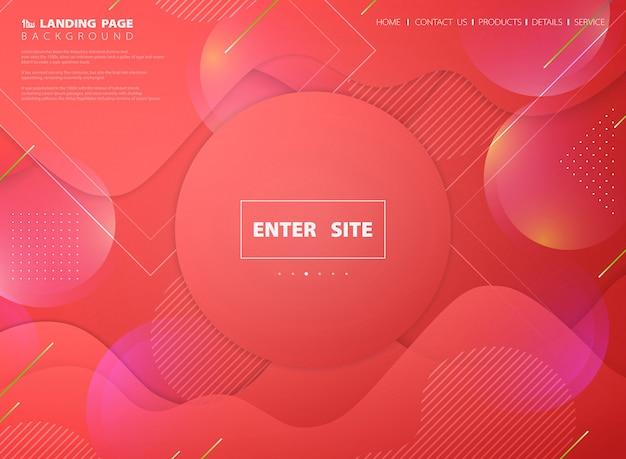 抽象的なピンクの生きているサンゴのランディングページwebテンプレート
