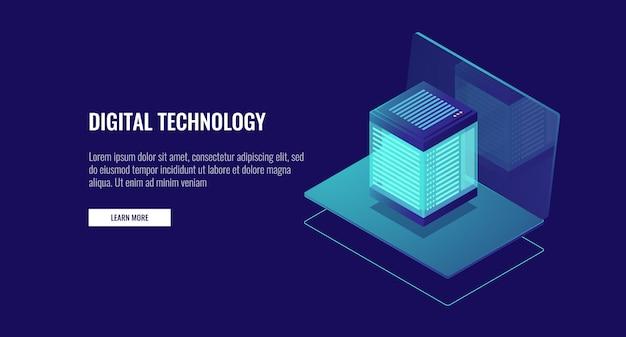 データベースアイコン、クラウドデータストレージ、webホスティング、サーバールームを備えたノートパソコン