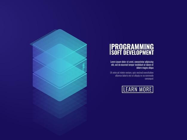 抽象的なオブジェクト、データサーバー、クラウドストレージ、webサイトのバナー