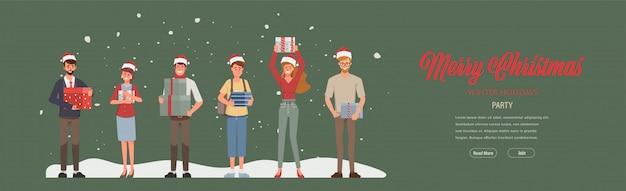 メリークリスマスと新年あけましておめでとうございますパーティーとサンタクロースの帽子をかぶっています。冬休みのwebランディングページテンプレート。