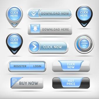 青い光沢のあるweb要素ボタンセット