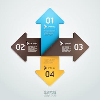 モダンな矢印折り紙スタイルステップアップ番号オプションテンプレート。ワークフローのレイアウト、図、webデザイン、インフォグラフィック。