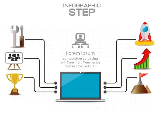 ビジネス、教育、webデザインのためのインフォグラフィックテンプレート。