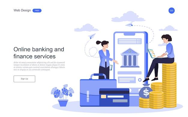 リンク先ページのwebテンプレートオンラインバンキング、金融取引のビジネスコンセプト。