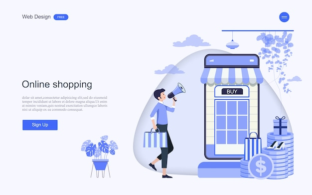 オンラインショッピングとサービスのランディングページwebテンプレート