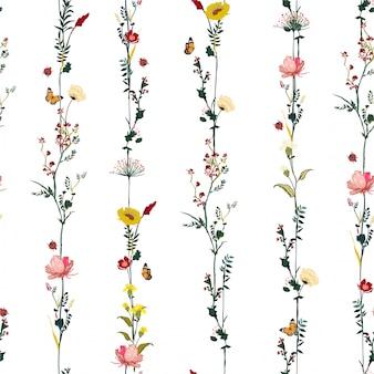 ファッション、布、web、壁紙およびすべての版画のベクトルスタイリッシュなイラストデザインのストライプ垂直行庭花植物シームレスパターン