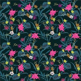 暗い夏の夜の植物の森。エキゾチックな咲く多くの種類の花のイラスト。ベクターのシームレスな花植物柄の生地、web、ファッション、およびすべてのプリントのデザイン