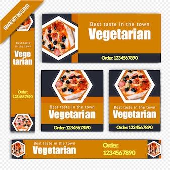 レストランのためのベジタリアンのwebバナーセット