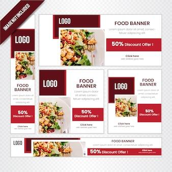 レストラン用の食品webバナーセット