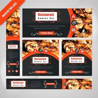 食べ物のwebバナーは、割引のあるレストランに設定します。
