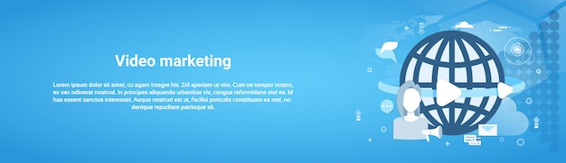 ビデオマーケティングの概念水平webバナー