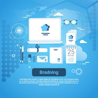 コピースペースのあるブランディングアイディアマーケティングテクノロジーコンセプトwebバナー
