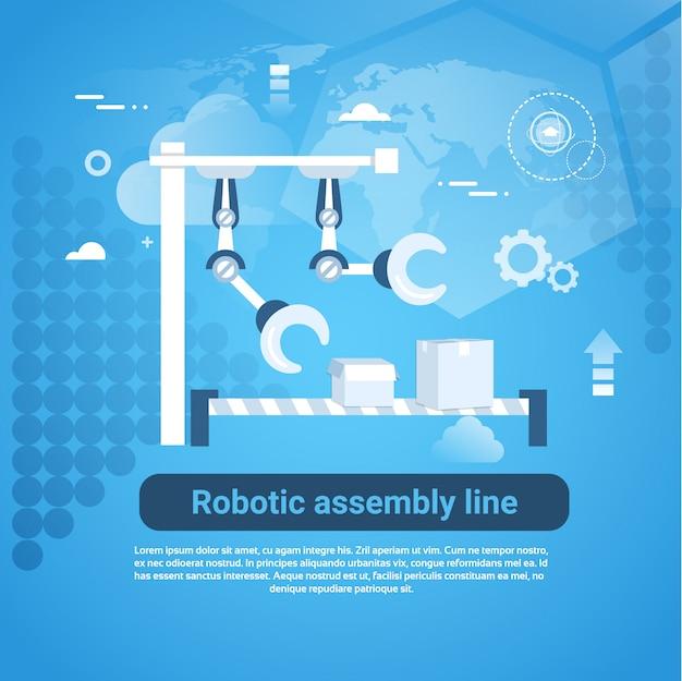 青色の背景にコピースペースを持つロボット組立ラインwebバナー