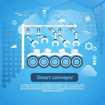 青色の背景にコピースペースを持つスマートコンベアwebバナー