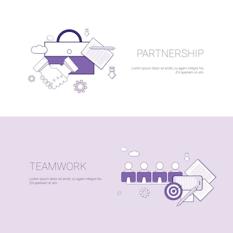 パートナーシップとチームワークビジネス協力コンセプトテンプレートコピースペースを持つwebバナー