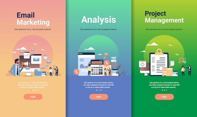 メールマーケティング分析とプロジェクト管理の概念のさまざまなビジネスコレクションのwebデザインテンプレートセット