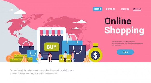 リンク先ページまたはオンラインショッピングのテーマのwebテンプレート。