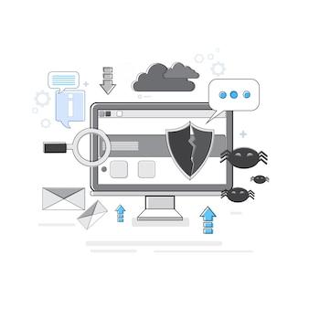 オンラインセキュリティデータ保護webテクノロジー細線ベクトル図