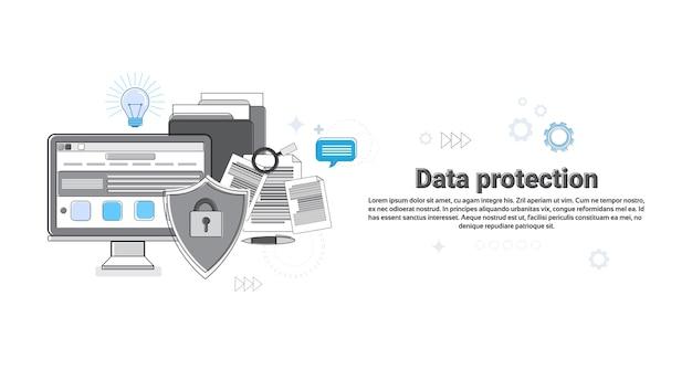 オンラインセキュリティデータ保護webテクノロジーバナーのベクトル図