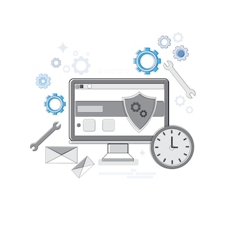 オンラインセキュリティデータ保護webテクノロジーバナー細線ベクトル図